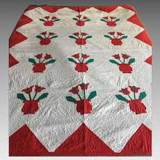 "Fabulous Tulip applique quilt red on white cotton vintage  58""x 74"""
