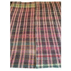 "Hand loomed woven vintage cover coverlet bedspread checkered rich colours 62""x 78"" tartan plaid"