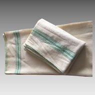 2 Summer Wool Blankets with soft green stripes hand loomed  like new -vintage