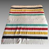 Hudson's Bay striped wool blanket 3 1/2 points twin size- vintage HBC