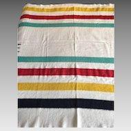 Hudson's Bay striped wool blanket 3 1/2 points- vintage HBC- imperfect