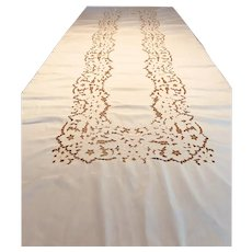 "Large vintage 66"" x 138""  banquet cutwork tablecloth with embroidery"