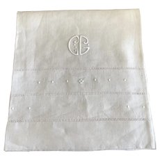 Antique French Monogrammed large linen towel   C G