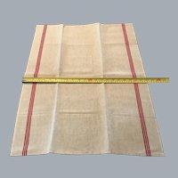 French vintage tea towel  metis linen  3 slim red stripes