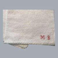 "Vintage French monogrammed "" MB "" tea towel  extra large linen cotton"