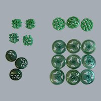 19 Vintage green LUCITE plastic flower - see though buttons with shanks