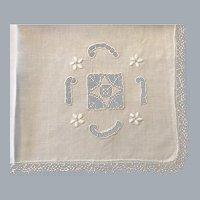 12 Vintage white embroidered dinner napkins tatting
