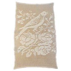 Filet crocheted window panel curtain bird and roses vintage