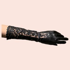 "Ladies Italian kid leather gloves 14 ""  open work cut work lace"