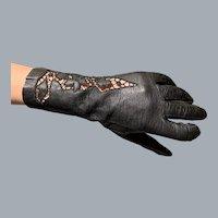 "Black kid leather Italian gloves 10"" cut work open work"