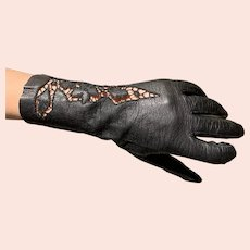 "Black kid leather Italian gloves 10"" cut work open work"