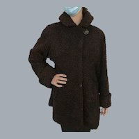 1940's brown Persian lamb swing coat size 12