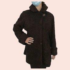 1940's brown Persian lamb swing coat size 12