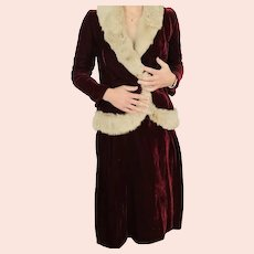 Burgundy red velvet  suit skirt jacket rabbit fur trim size XS