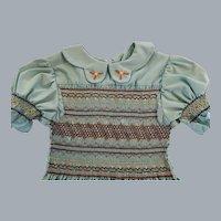 Vintage hand smocked turquoise girl's dress size 6