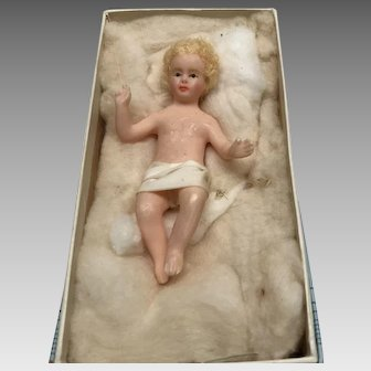 Nativity wax Jesus Baby for Christmas creche- 4 inches