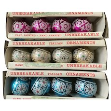 Yuletide hand painted  vintage unbreakable Christmas ornaments- 3 boxes from Italy