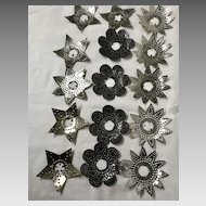 16 vintage punched tin metal reflectors for Christmas tree