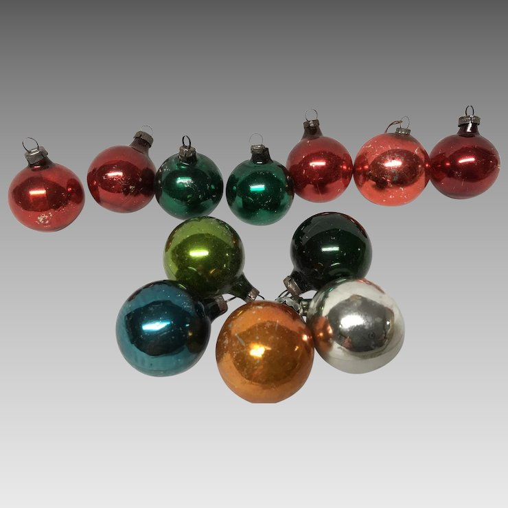 box of 12 vintage glass christmas ornaments - Vintage Glass Christmas Ornaments