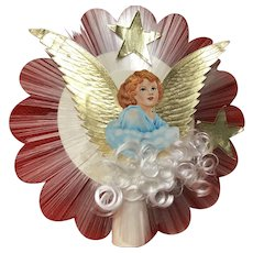 Vintage home made tree topper with angel hair