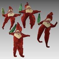 4 vintage chenille Santa Claus ornaments paper face