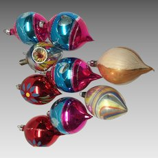 12 vintage Christmas ornaments tear shaped from Poland