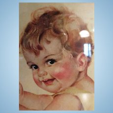 Framed Charlotte Becker Print of Baby, Rag Doll and High Chair!