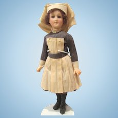 "RARE WWI Nurse Doll All-Original Only 9"" tall!"