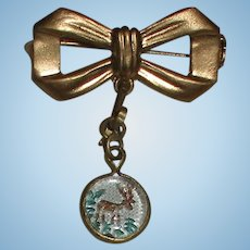 Rare Intaglio Deer in a Forest Brooch for Your Antique Doll!
