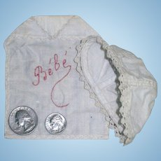 Adorable Hand-Embroidered French Bebe Bib & Bonnet for a Small Antique French Doll
