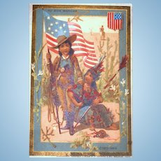 Our Friends in America!  1889 Au Bon Marche Trade Card!