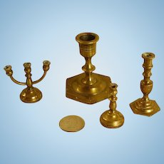 Miniature Brass Candlesticks for Your Doll Scene!
