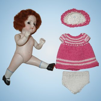 "Little 4 3/4"" All-Bisque German Doll!"