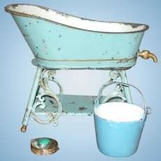 Antique French Tin Toy Doll Bathtub with Accessories