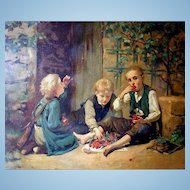 Eating Cherries Antique French Lithograph