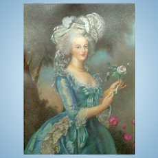 Antique Portrait on Silk for Your French Doll Scene