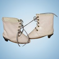 Pale Pink Leather French Fashion Doll Bottines