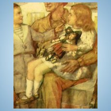 1944 Framed Lithograph of Doll, Children and American GI!