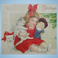 Antique EMBOSSED Christmas Postcard with DOLL!