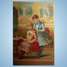 French Girls at Vanity Trade Card from Paris