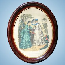 Framed French Fashion Print from La Mode Illustree for Your Doll