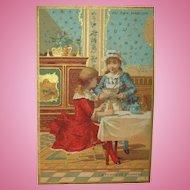 Au Bon Marche Of Little Girls Playing Tea Time