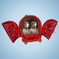 Red Velvet Antique French Perfume Caddie