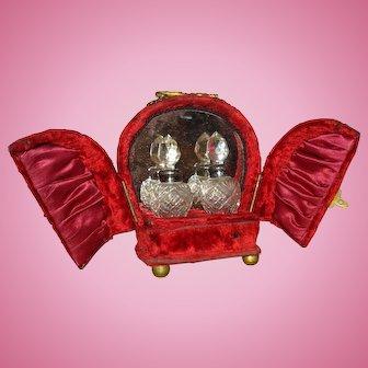 Red Velvet Antique French Perfume Caddie