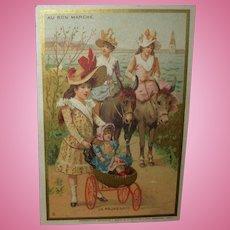 Antique Au Bon Marche Doll Trade Card