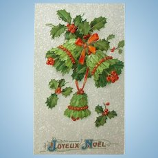 Antique French Gel Christmas Postcard