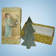 Doll Display Antique Folk Xmas Tree in Antique Box