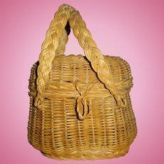 Large French Doll Antique Picnic Basket