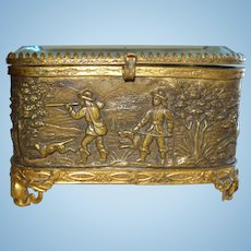 TINY Antique French Repousse Trinket Box for your French Doll