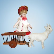 Antique French Toy Goat & Cart for Your Doll!